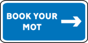 An image styled as road sign linking to the MOT booking form at Just MOTs of Milton Keynes