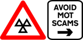 An image styled as road sign linking to the MOT Scams page at Just MOTs of Milton Keynes